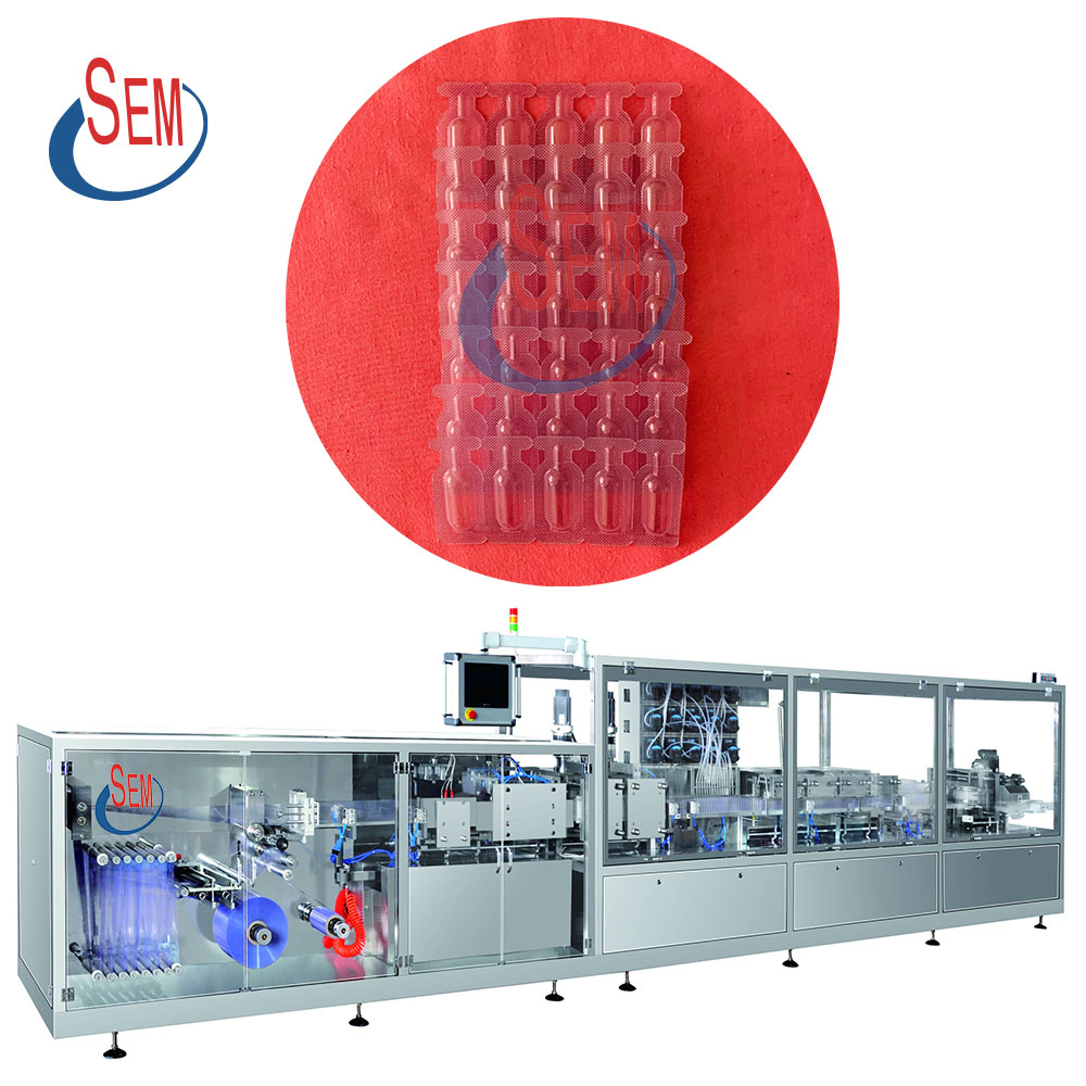 Plastic ampoule filling sealing machine and labeling machine