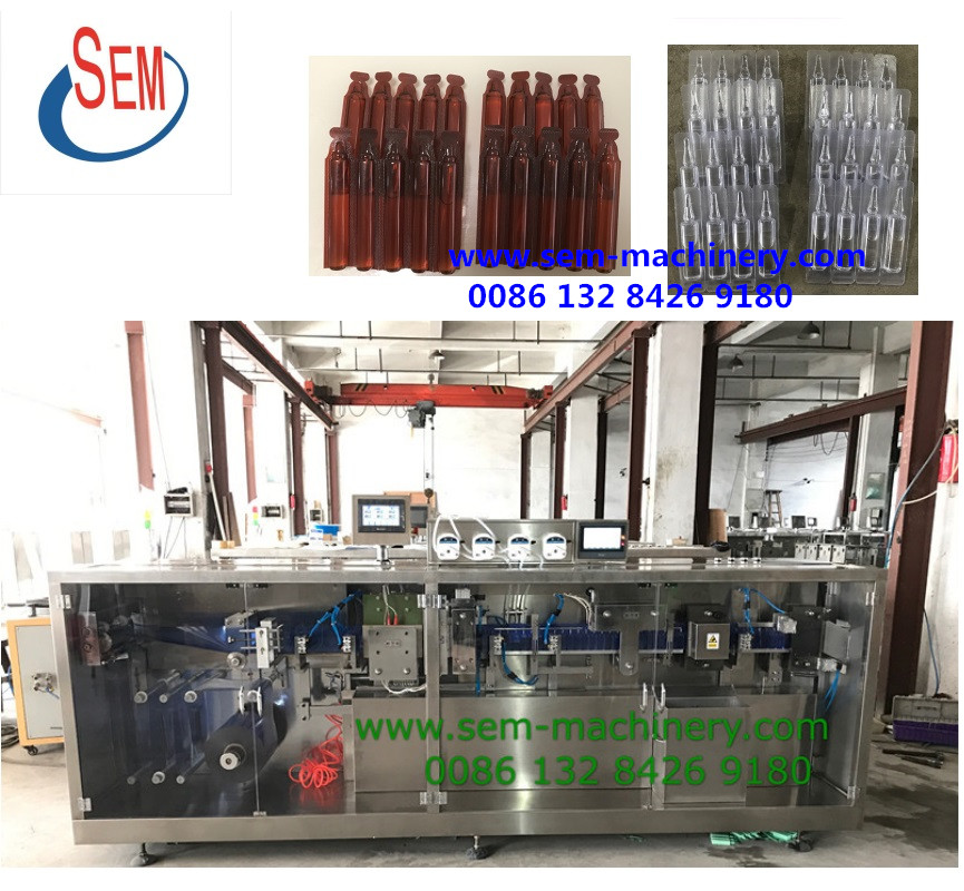 stand up plastic ampoule forming filling sealing cutting liquid packing machine